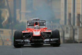 World © Octane Photographic Ltd. F1 Monaco GP, Monte Carlo - Saturday 25th May - Qualifying. Marussia F1 Team MR02 - Jules Bianchi' car comes to a halt with an airbox fire on his out lap. Digital Ref : 0708lw1d9729