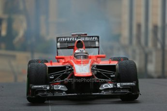 World © Octane Photographic Ltd. F1 Monaco GP, Monte Carlo - Saturday 25th May - Qualifying. Marussia F1 Team MR02 - Jules Bianchi' car comes to a halt with an airbox fire on his out lap. Digital Ref : 0708lw1d9736