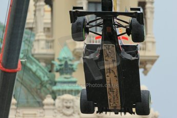 World © Octane Photographic Ltd. F1 Monaco GP, Monte Carlo - Saturday 25th May - Qualifying. Marussia F1 Team MR02 - Jules Bianchi's car is craned clear to allow qualifying to continue. Digital Ref : 0708lw1d9786