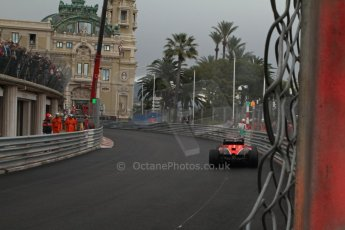 World © Octane Photographic Ltd. F1 Monaco GP, Monte Carlo - Saturday 25th May - Qualifying. Marussia F1 Team MR02 - Jules Bianchi' car comes to a halt with an airbox fire on his out lap. Digital Ref : 0708lw7d8519