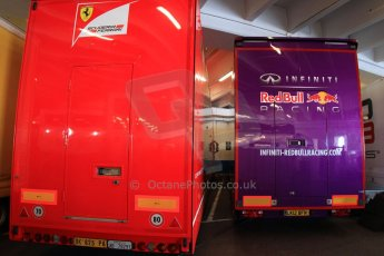 World © Octane Photographic Ltd. Formula 1 Monte Carlo - Monaco. Practice 1. The F1 transporters parked up in a car park for a change - these from Infiniti Red Bull Racing and Scuderia Ferrari. Digital Ref :