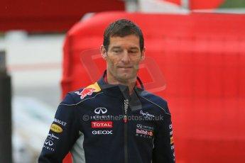 World © Octane Photographic Ltd. F1 Spanish GP - Friday 10th May 2013 paddock. Mark Webber - Infiniti Red Bull Racing. Digital Ref : 0658cb1d8758