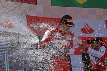 World © 2013 Octane Photographic Ltd. F1 Spanish GP, Circuit de Catalunya - Sunday 12th May 2013 - Race. Scuderia Ferrari - Fernando Alonso and Felipe Massa on the podium. Digital Ref : 0674cb1d3027