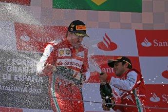 World © 2013 Octane Photographic Ltd. F1 Spanish GP, Circuit de Catalunya - Sunday 12th May 2013 - Race. Scuderia Ferrari - Fernando Alonso and Felipe Massa on the podium. Digital Ref : 0674cb1d3028
