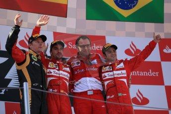 World © 2013 Octane Photographic Ltd. F1 Spanish GP, Circuit de Catalunya - Sunday 12th May 2013 - Race. Scuderia Ferrari - Stefano Domenicali, Fernando Alonso and Felipe Massa on the podium with Kimi Raikkonen. Digital Ref : 0674cb1d3094