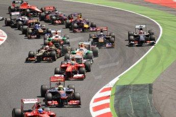 World © 2013 Octane Photographic Ltd. F1 Spanish GP, Circuit de Catalunya - Sunday 12th May 2013 - Race. The opening lap. Digital Ref: 0673cb7d9361