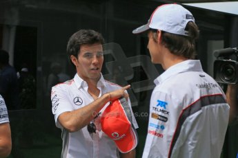 World © Octane Photographic Ltd. F1 Spanish GP Thursday 9th May 2013. Sergio Perez - Vodafone McLaren Mercedes and Esteban Gutierrez - Sauber. Press Conference. (paddock outside press room). Digital Ref :
