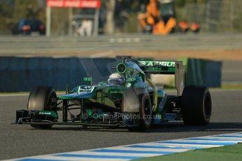 World © Octane Photographic Ltd. Formula 1 Winter Test Jerez – Day 1 – Tuesday 5th February 2013. Caterham CT03 - Giedo van der Garde. Digital Ref: 0571lw1d7803