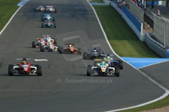 World © Octane Photographic Ltd. BRDC Formula 4 (F4) Race 1, Donington Park 28th September 2013. MSVF4-13, Hillspeed, Struan Moore leading MSVF4-13, HHC Motorsport, Gustavo Lima. Digital Ref : 0833lw1d9618