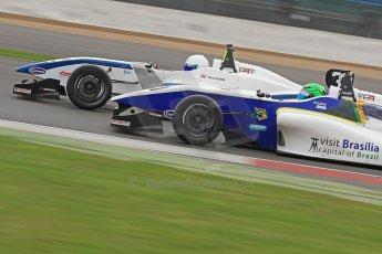 World © Octane Photographic Ltd. BRDC Formula 4 (F4) Championship, Silverstone, April 27th 2013. MSV F4-013, HHC Motorsport, Gustavo Lima and Motionsport, Ross Gunn. Digital Ref : 0642cb7d9332