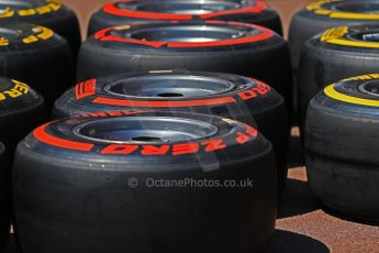 World © Octane Photographic Ltd. Monaco Formula One, Wednesday 22nd May 2013, Monte Carlo. Pirelli's Prime and Option tyres for the weekend. Digital Ref : 0691lw1d6693