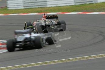 World © Octane Photographic Ltd. F1 German GP - Nurburgring. Friday 5th July 2013 - Practice two. Lotus F1 Team E21 - Kimi Raikkonen and the Williams FW35 of Valtteri Bottas. Digital Ref : 0741lw1d4493
