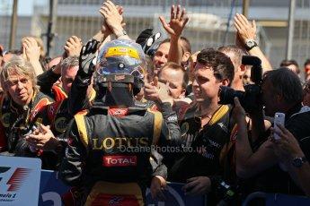World © Octane Photographic Ltd. F1 German GP - Nurburgring. Sunday 7th July 2013 - Parc Ferme. Lotus F1 Team - Romain Grosjean. Digital Ref : 0750lw1d5316