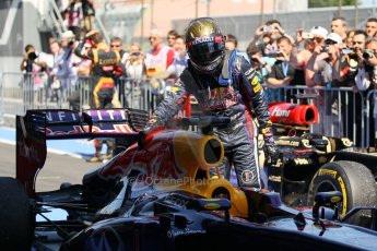 World © Octane Photographic Ltd. F1 German GP - Nurburgring. Sunday 7th July 2013 - Parc Ferme. Infiniti Red Bull Racing RB9 - Sebastian Vettel. Digital Ref : 0750lw1d5377