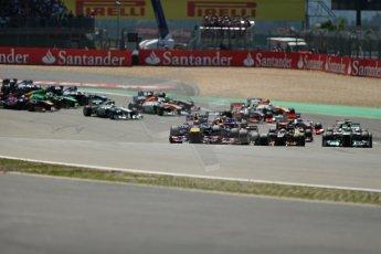 World © Octane Photographic Ltd. F1 German GP - Nurburgring. Sunday 7th July 2013 - Race. Infiniti Red Bull Racing RB9 - Sebastian Vettel and Mark Webber. Digital Ref : 0749lw1dx9335