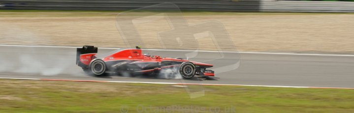 World © Octane Photographic Ltd. F1 German GP - Nurburgring. Saturday 6th July 2013 - Practice three. Marussia F1 Team MR02 - Max Chilton grabs the front right brake on turn in. Digital Ref : 0744lw1d4225