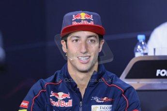 World © Octane Photographic Ltd. F1 German GP - Nurburgring. Thursday 4th July 2013 - Press Conference. Scuderia Toro Rosso STR 8 - Daniel Ricciardo. Digital Ref : 0738lw1d3046