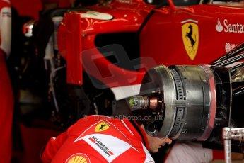 World © Octane Photographic Ltd. F1 British GP - Silverstone, Friday 28th June 2013 - Practice 1. Scuderia Ferrari F138 Garage. Digital Ref : 0724ce1d6496