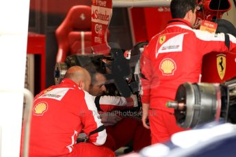 World © Octane Photographic Ltd. F1 British GP - Silverstone, Friday 28th June 2013 - Practice 1. Scuderia Ferrari F138 Garage. Digital Ref : 0724ce1d6501
