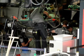 World © Octane Photographic Ltd. F1 British GP - Silverstone, Friday 28th June 2013 - Practice 1. Mercedes AMG Petronas F1 W04 Garage. Digital Ref : 0724ce1d6630