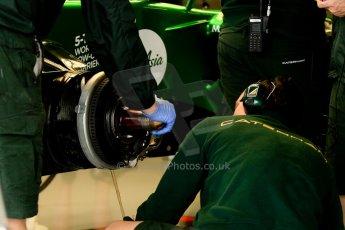 World © Octane Photographic Ltd. F1 British GP - Silverstone, Friday 28th June 2013 - Practice 2. Caterham F1 Team CT03 Garage. Digital Ref : 0724ce1d6848