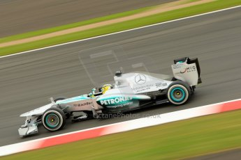 World © Octane Photographic Ltd. F1 British GP - Silverstone, Friday 28th June 2013 - Practice 2. Mercedes AMG Petronas F1 W04 - Nico Rosberg. Digital Ref : 0726ce1d7174