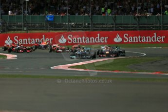 World © Octane Photographic Ltd. F1 British GP - Silverstone, Sunday 30th June 2013 - Race. Mercedes AMG Petronas F1 W04 – Lewis Hamilton leads the pack. Digital Ref : 0734lw1d2338