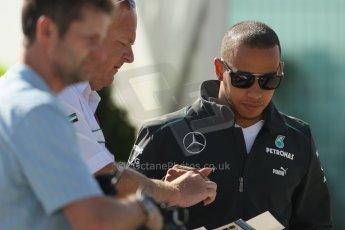 World © Octane Photographic Ltd. F1 British GP - Silverstone, Sunday 30th June 2013 – F1 Paddock. Lewis Hamilton - Mercedes AMG Petronas. Digital Ref : 0733lw1d1606