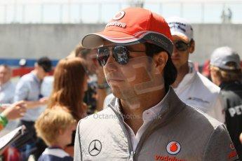 World © Octane Photographic Ltd. F1 British GP - Silverstone, Sunday 30th June 2013 – F1 Paddock. Sergio Perez - Vodafone McLaren Mercedes. Digital Ref : 0733lw1d1947