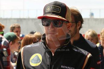World © Octane Photographic Ltd. F1 British GP - Silverstone, Sunday 30th June 2013 – F1 Paddock. Kimi Raikkonene - Lotus F1 Team. Digital Ref : 0733lw1d1961