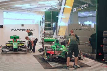 World © Octane Photographic Ltd. GP2 Monaco GP, Monte Carlo, Thursday 23rd May 2013. Practice and Qualifying. Sergio Canamasas and Alexander Rossi – EQ8 Caterham Racing – Caterham Racing Monaco car park garage. Digital Ref: 0693cb7d0752