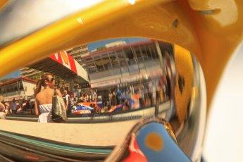 World © Octane Photographic Ltd. GP2 Monaco GP, Monte Carlo, Thursday 23rd May 2013. Practice and Qualifying. Robin Frijns and Jon Lancaster - Hilmer Motorsport reflected in a fire marshal's visor. Digital Ref : 0693cb7d0831