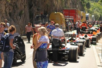 World © Octane Photographic Ltd. GP2 Monaco GP, Monte Carlo, Thursday 23rd May 2013. Practice and Qualifying. The Pre-qualifying queue to enter the pits. Digital Ref: 0693cb7d1128