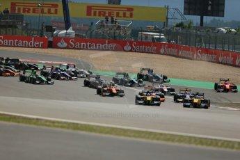 World © Octane Photographic Ltd. GP2 German GP, Nurburgring, 6th July 2013. Race 1. Marcus Ericsson and Stephan Richelmi lead the opening lap - DAMS. Digital Ref : 0746lw1d7613