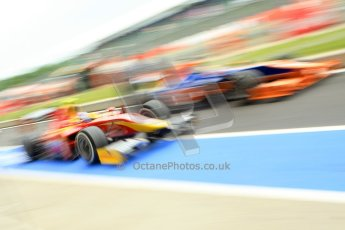 World © Octane Photographic Ltd. GP2 British GP, Silverstone, Friday 28th June 2013. Qualifying. Fabio Leimer- Racing Engineering and Robin Frijns - Hilmer Motorsport go wheel-to-wheel in the pitlane. Digital Ref: 0727ce1d7404
