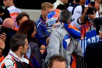World © Octane Photographic Ltd./Chris Enion. GP2 British GP, Silverstone, Sunday 30th June 2013. Race 2 winner Jon Lancaster - Hilmer Motorsport celebrates in Parc Ferme. Digital Ref : 0732ce1d9535