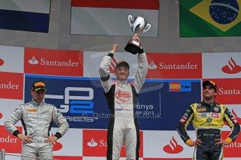 World © Octane Photographic Ltd. GP2 Spanish GP, Circuit de Catalunya, Sunday 12th May 2013. GP2 Race 2. Stefano Coletti – Rapax, Robin Frijns - Hilmer Motorsport and Felipe Nasr - Carlin. Digital Ref: 0670cb1d2337