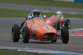 World © Octane Photographic Ltd. Donington Park 80th Anniversary Meeting (March 1933 – March 2013). HSCC/FJHRA Historic Formula Junior Championship – Race A Front Engine, morning practice and qualifying. Derek Walker – Terrier MkIV and Gordon Russell – Gemini Mk2. Digital Ref : 0598lw1d5168