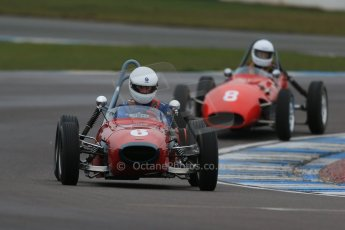 World © Octane Photographic Ltd. Donington Park 80th Anniversary Meeting (March 1933 – March 2013). HSCC/FJHRA Historic Formula Junior Championship – Race A Front Engine, morning practice and qualifying. Stephen Barlow – BMC Mk1 and Gordon Russell – Gemini Mk2. Digital Ref : 0598lw1d5249