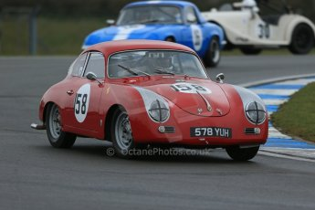 World © Octane Photographic Ltd. Donington Park 80th Anniversary Meeting (March 1933 – March 2013). HSCC Historic Road Sports Championship supported by Witchampton Garage (Inc. Class B2 Guards Trophy), morning practice and qualifying. Steve Wright/Ian Clark – Porsche 356A. Digital Ref : 0599lw1d5289
