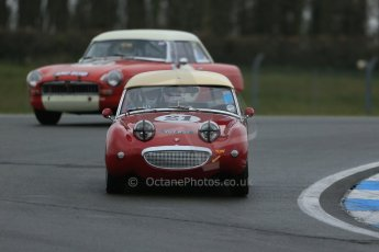 World © Octane Photographic Ltd. Donington Park 80th Anniversary Meeting (March 1933 – March 2013). HSCC Historic Road Sports Championship supported by Witchampton Garage (Inc. Class B2 Guards Trophy), morning practice and qualifying. Peter Chappell – Austin Healey Sprite Mk1. Digital Ref : 0599lw1d5329