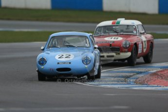 World © Octane Photographic Ltd. Donington Park 80th Anniversary Meeting (March 1933 – March 2013). HSCC Historic Road Sports Championship supported by Witchampton Garage (Inc. Class B2 Guards Trophy), morning practice and qualifying. Tony Davis – Austin Healey Sprite Mk1 and Paul Latimer – MGB. Digital Ref : 0599lw1d5463