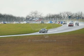 World © Octane Photographic Ltd. Donington Park 80th Anniversary Meeting (March 1933 – March 2013). HSCC/HRSR ByBx Historic Touring Car Championship. Mark Gardiner in his Ford Falcon leads the pack through Redgate into the Craner Curves. Digital Ref : 0592lw1d6612