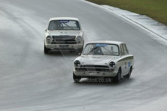 World © Octane Photographic Ltd. Donington Park 80th Anniversary Meeting (March 1933 – March 2013). HSCC/HRSR ByBx Historic Touring Car Championship. Nick Ledger – Ford Lotus Cortina and James Clark – Ford Lotus Cortina. Digital Ref : 0592lw1d6628