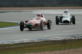 World © Octane Photographic Ltd. Donington Park 80th Anniversary Meeting (March 1933 – March 2013). HSCC/FJHRA Historic Formula Junior Championship – Race A Front Engine. Michael Ashley-Brown – Volpini-Fiat Monoposto and Justin Fleming – Lola MkII. Digital Ref : 0593lw1d6819
