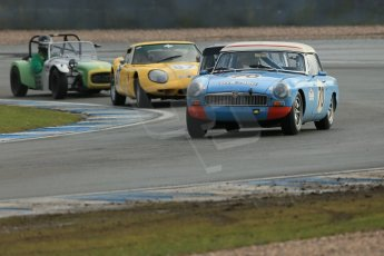 World © Octane Photographic Ltd. Donington Park 80th Anniversary Meeting (March 1933 – March 2013). HSCC Historic Road Sports Championship supported by Witchampton Garage (Inc. Class B2 Guards Trophy). Oliver Eaton – MGB, Bill Smith – Marcos 160GT and Jonathan Stringer – Lotus 7 Series 2. Digital Ref : 0594lw1d6947