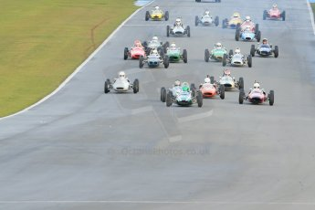 World © Octane Photographic Ltd. Donington Park 80th Anniversary Meeting (March 1933 – March 2013). HSCC/FJHRA Historic Formula Junior Championship – Race B, Rear Engine cars, Classes C-E. Sam Wilson in his Cooper T59 lead the pack away from the line. Digital Ref : 0596lw1d7183