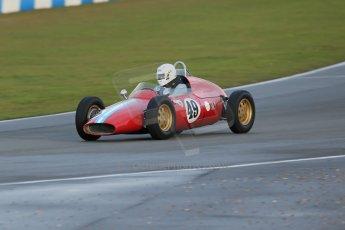 World © Octane Photographic Ltd. Donington Park 80th Anniversary Meeting (March 1933 – March 2013). HSCC/FJHRA Historic Formula Junior Championship – Race B, Rear Engine cars, Classes C-E. Mike Gregory – DeTomasso ISIS. Digital Ref : 0596lw1d7420
