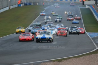 World © Octane Photographic Ltd. Donington Park 80th Anniversary Meeting (March 1933 – March 2013). HSCC Guards Trophy Car Championship supported by Dunlop Tyres. Craig Davies in his Chevrolet Corvette and Ross Maxwell in his Chevron B8 go toe to toe ahead of the pack into Redgate on the opening lap. Digital Ref : 0597lw1d7477