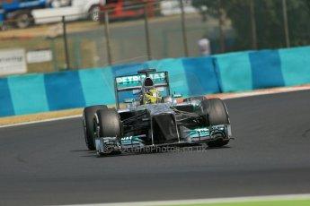 World © Octane Photographic Ltd. F1 Hungarian GP - Hungaroring. Thursday. 25th July 2013. F1 Practice 2. Mercedes AMG Petronas F1 W04 - Nico Rosberg. Digital Ref : 0760lw1d1880